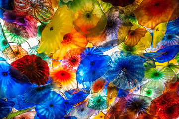 Chihuly type glass colors and patterns detail background