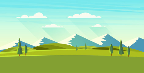 Poster Turkoois Beautiful vector landscape.