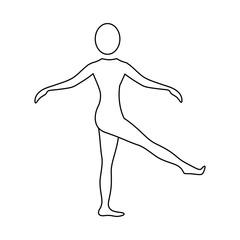 silhouette woman training her body, vector illustration design