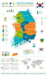 South Korea - map and flag - infographic illustration
