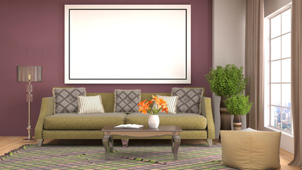 mock up poster frame in interior background. 3D Illustration