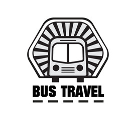 Bus trip and travel tour badge logo