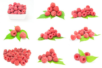 Collage of ripe raspberries on white