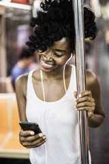 Woman commuting in Manhattan, NYC