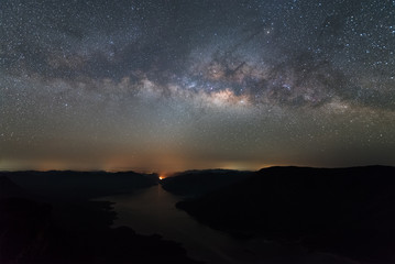 Clearly Milky way above the lake and mountain.