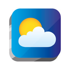 3d button with sun and cloud design, vector illustraion image