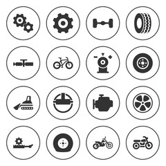 Set of 16 wheel filled icons