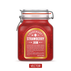 Vector labelled Bale Square Glass Jar with Swing Top Lid filled with strawberry jam isolated over the white background.
