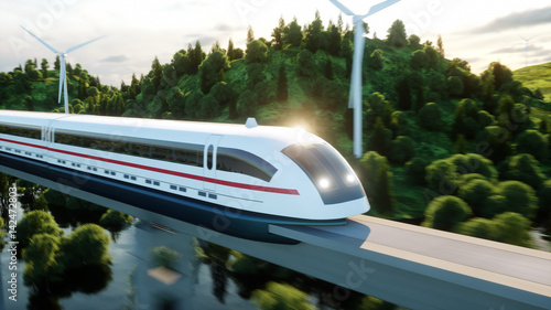 futuristic, modern Maglev train passing on mono rail