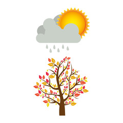 colorful nature picture with autumn tree with rain and sun vector illustration