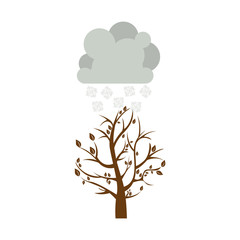 colorful winter picture with fall tree with cloud and snowflakes vector illustration