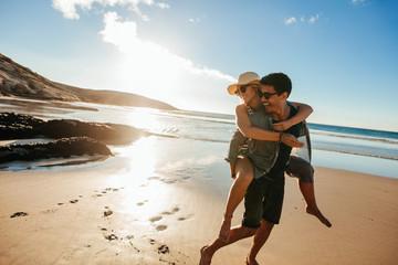 Romantic young couple enjoying summer holidays