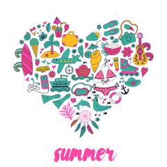 Summer heart design made of doodle season elements