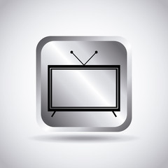 silver button with television icon over white background. vector illustration