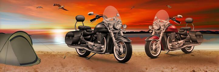 Motorrad, Bike am Strand beim Sonnenuntergang am Abend