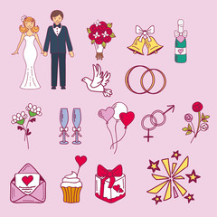 Bride and groom wedding couple marriage nuptial icons design ceremony celebration and holliday people folk icons beauty portrait family vector illustration.