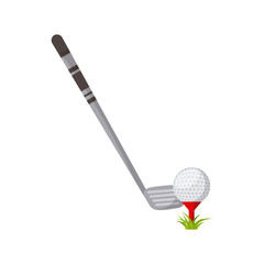 golf stick and ball over white background. colorful design. vector illustration