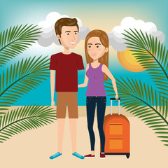 person with travel suitcase vector illustration design