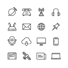 Communication, monitoring, phone marketing and web vector line icons
