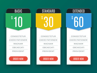 Comparison price chart table, pricing plan vector template