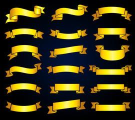 Wall Mural - Retro golden ribbon banners vector stock