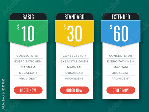 Comparison Price Chart Table Pricing Plan Vector Template Stock