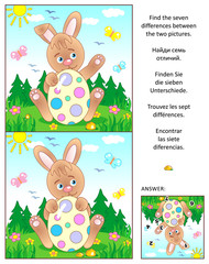 Visual puzzle: Find the seven differences between the two pictures with Easter bunny and painted eggs. Answer included.