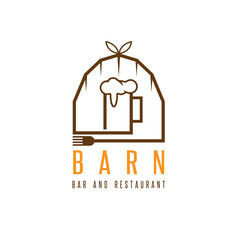 barn with beer mug and fork vector design template