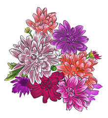 Bright Chrysanthemum flower bouquet isolated.