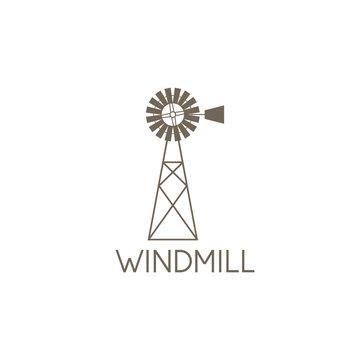 simple vector illustration of old farm windmill