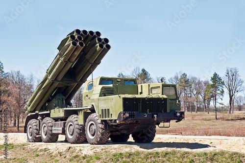 multiple rocket launcher in combat position