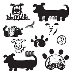 Set of concept hand drawn icons logo template with dogs . Vector illustration