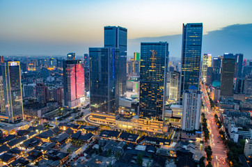 High Angle Shot Of Illuminated Cityscape of Taikooli in Chengdu,China.