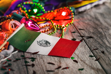 Fiesta: Mexican Flag In Focus With Glowing Party Lights