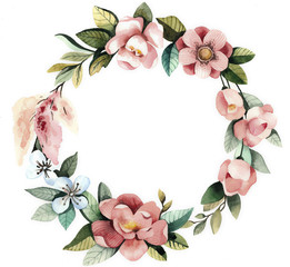 Foto auf Leinwand Blumen Watercolor floral wreath with magnolias, green leaves and branches.