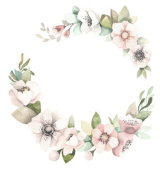 Watercolor floral wreath with magnolias, green leaves and branches.
