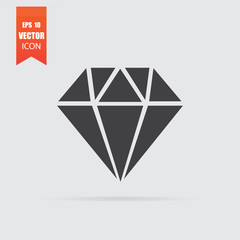 Diamond icon in flat style isolated on grey background.