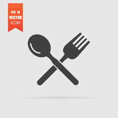 Spoon and fork icon in flat style isolated on grey background.