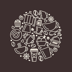 Set of coffee theme. Line art draw icons in the circle.Vector illustration