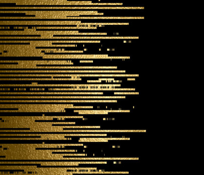 Banner with gold texture lines decoration on the black background.