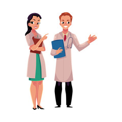Male and female doctors in white medical coats, woman pointing to man with stethoscope, cartoon vector illustration isolated on white background. Full length portrait of two doctors with clipboards