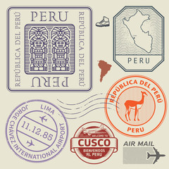 Travel stamps or symbols set Peru, South America theme