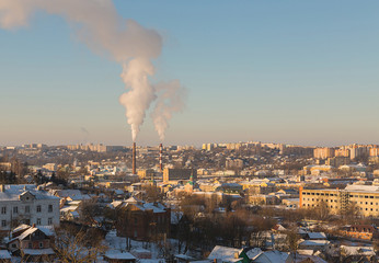 Russia panoramic view of the industrial part of Smolensk old and new buildings in a clear winter's day