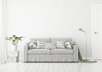 Neutral livingroom interior with fabric sofa, pillows and plaid on clear white wall background. 3D rendering.