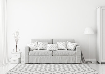 Cozy scandinavian style livingroom interior with grey fabric sofa, lamp, boxes and rug on neutral empty white wall background. 3D rendering.