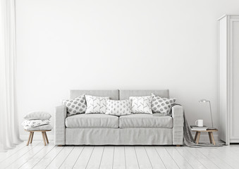 Scandinavian style livingroom interior with grey sofa and pilllows on neutral white wall background. 3D rendering.