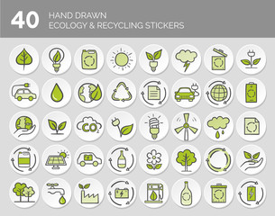 Hand drawn Ecology and Recycling button set. Vector illustration.