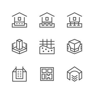 Set line icons of house foundation