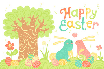 Happy Easter festive postcard with rabbits painted eggs on a meadow.