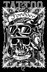 Graphic tattoo skull poster design